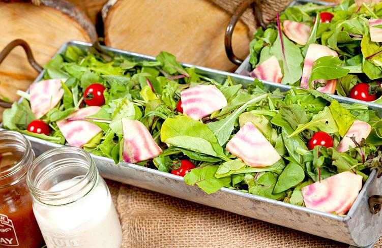 横浜都筑野菜を含んだ10種の健康サラダ(6種のドレッシングと5種のトッピング付き)