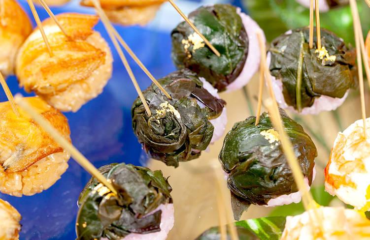 金時草の手毬寿司